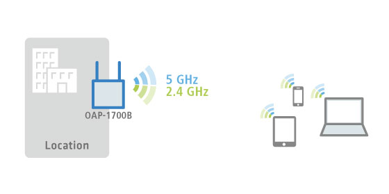 Scenario of WLAN coverage in the 2.4 and 5 GHz frequency band