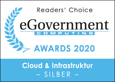 Logo of eGovernment Awards silber in cloud & infrastructure for LANCOM