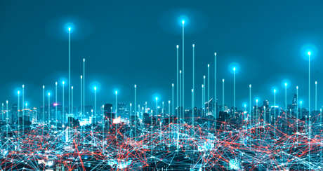 Site connectivity in metropole at night with LANCOM SD-WAN