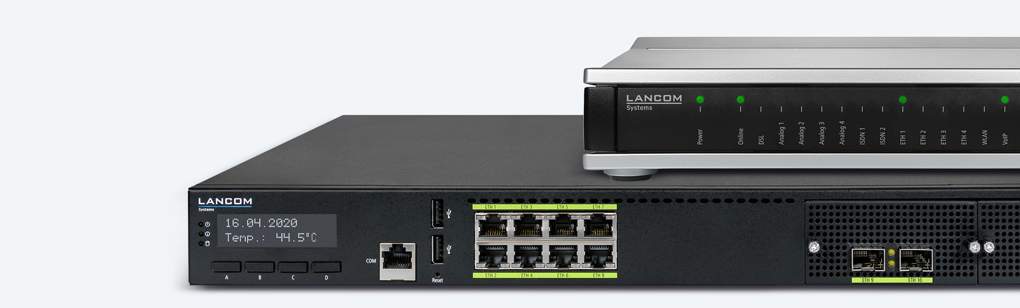 Collage of LANCOM routers and SD-WAN products