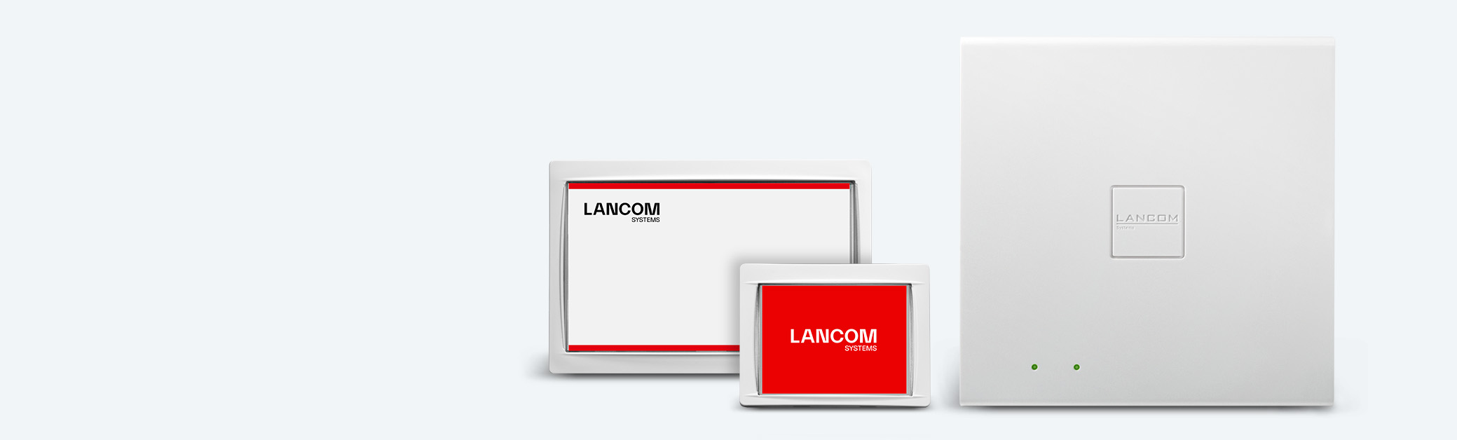 Collage of LANCOM Wireless ePaper und iBeacon products