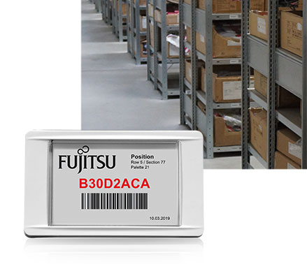 LANCOM ePaper display as electronic shelf label in warehouse