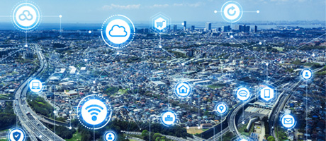 Networked big city with numerous app icons