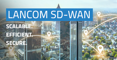 LANCOM SD-WAN Key Visual: Networked big city