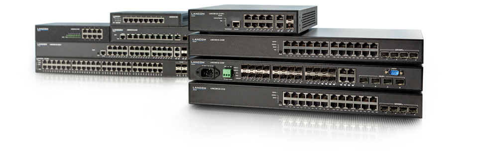 Collage of LANCOM cloud-managed switches