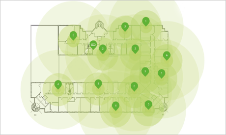 Graphic depiction of WLAN coverage on building plan in LANCOM Management Cloud